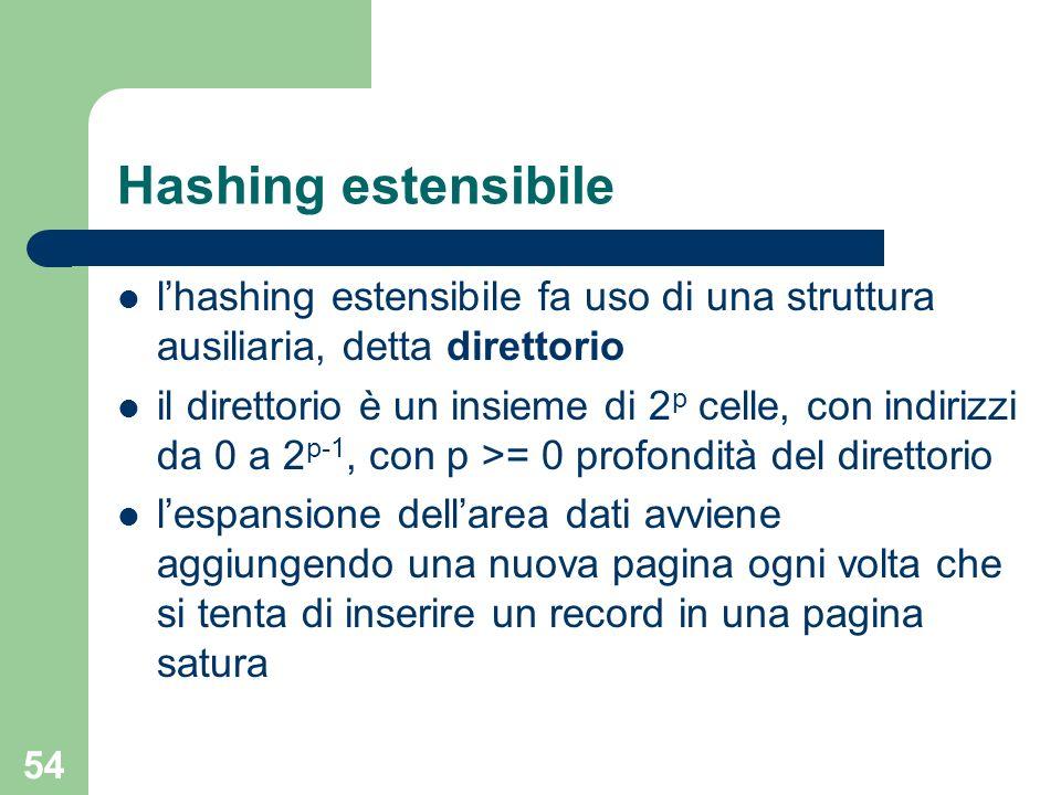 54 Hashing estensibile lhashing estensibile fa uso di una struttura ausiliaria, detta direttorio il direttorio è un insieme di 2 p celle, con indirizz