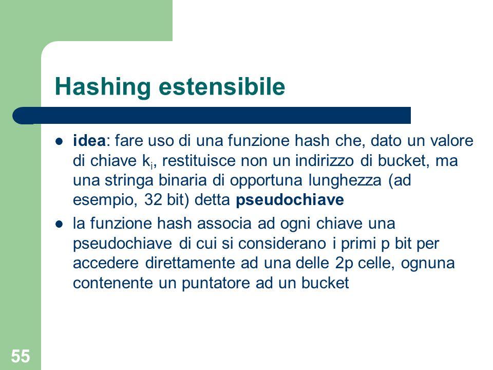 55 Hashing estensibile idea: fare uso di una funzione hash che, dato un valore di chiave k i, restituisce non un indirizzo di bucket, ma una stringa b