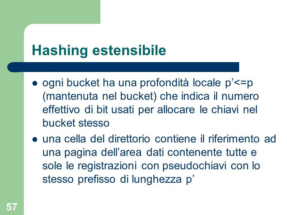 57 Hashing estensibile ogni bucket ha una profondità locale p<=p (mantenuta nel bucket) che indica il numero effettivo di bit usati per allocare le ch