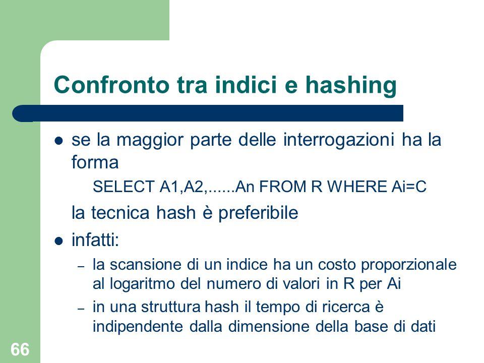 66 Confronto tra indici e hashing se la maggior parte delle interrogazioni ha la forma SELECT A1,A2,......An FROM R WHERE Ai=C la tecnica hash è prefe