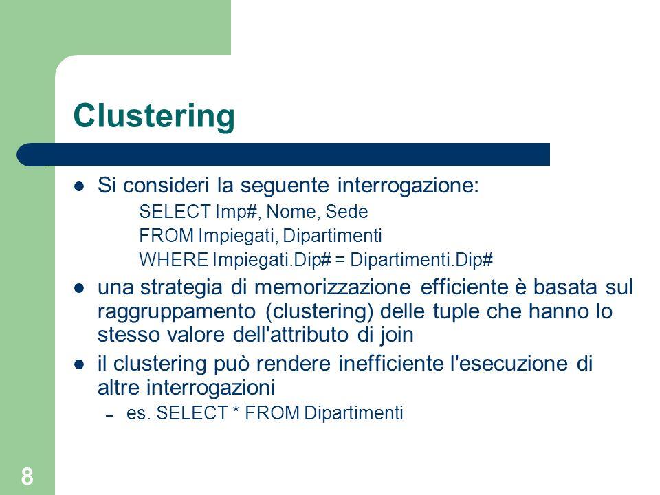 8 Clustering Si consideri la seguente interrogazione: SELECT Imp#, Nome, Sede FROM Impiegati, Dipartimenti WHERE Impiegati.Dip# = Dipartimenti.Dip# un