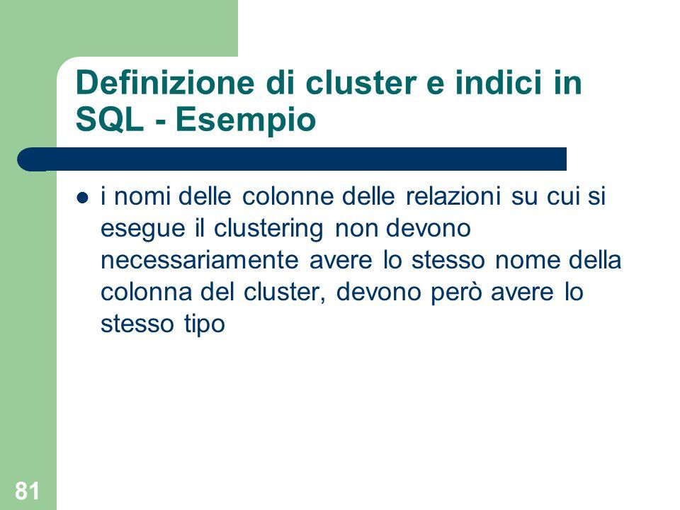 81 Definizione di cluster e indici in SQL - Esempio i nomi delle colonne delle relazioni su cui si esegue il clustering non devono necessariamente ave