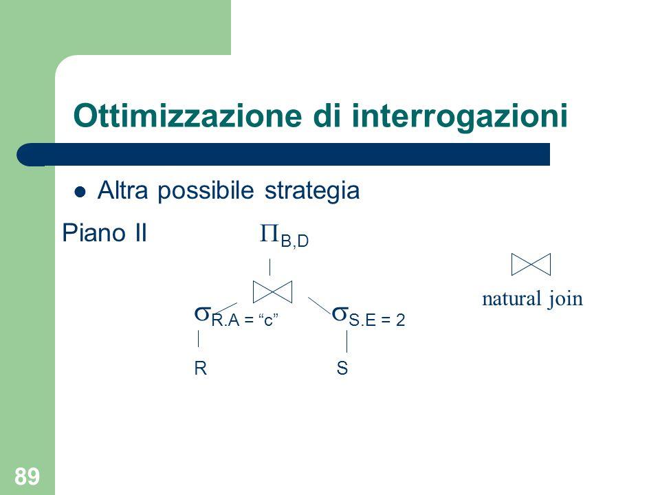 89 Ottimizzazione di interrogazioni Altra possibile strategia Piano II B,D R.A = c S.E = 2 R S natural join