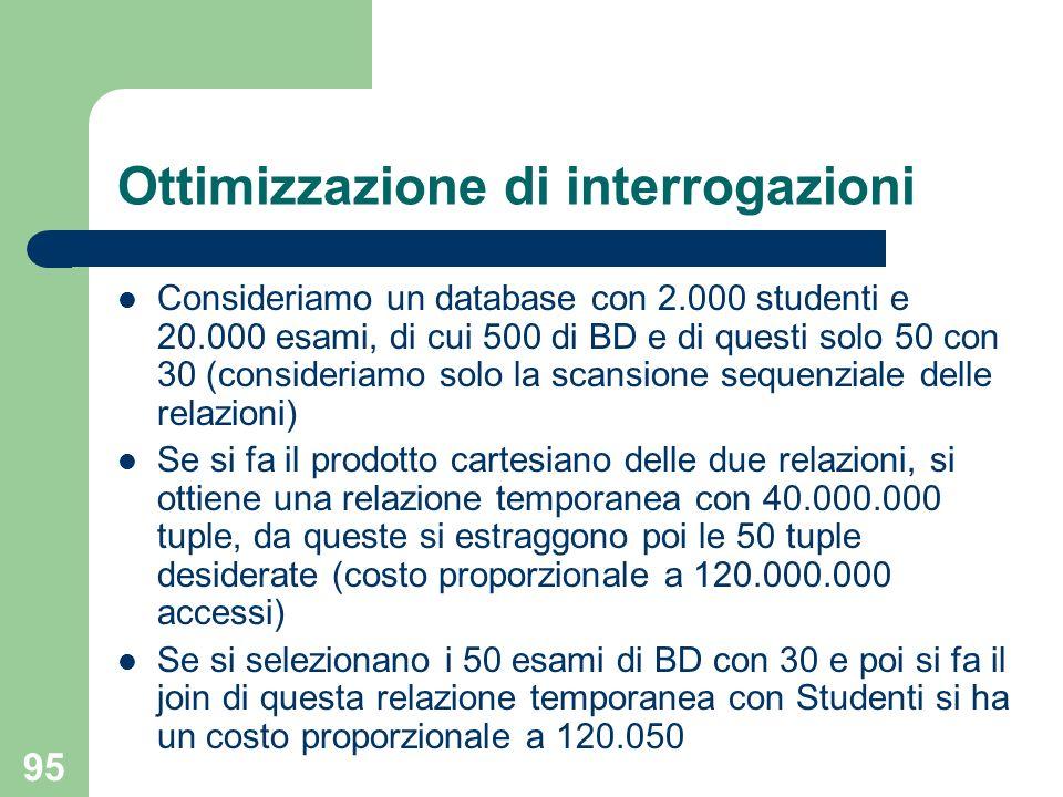 95 Ottimizzazione di interrogazioni Consideriamo un database con 2.000 studenti e 20.000 esami, di cui 500 di BD e di questi solo 50 con 30 (consideri