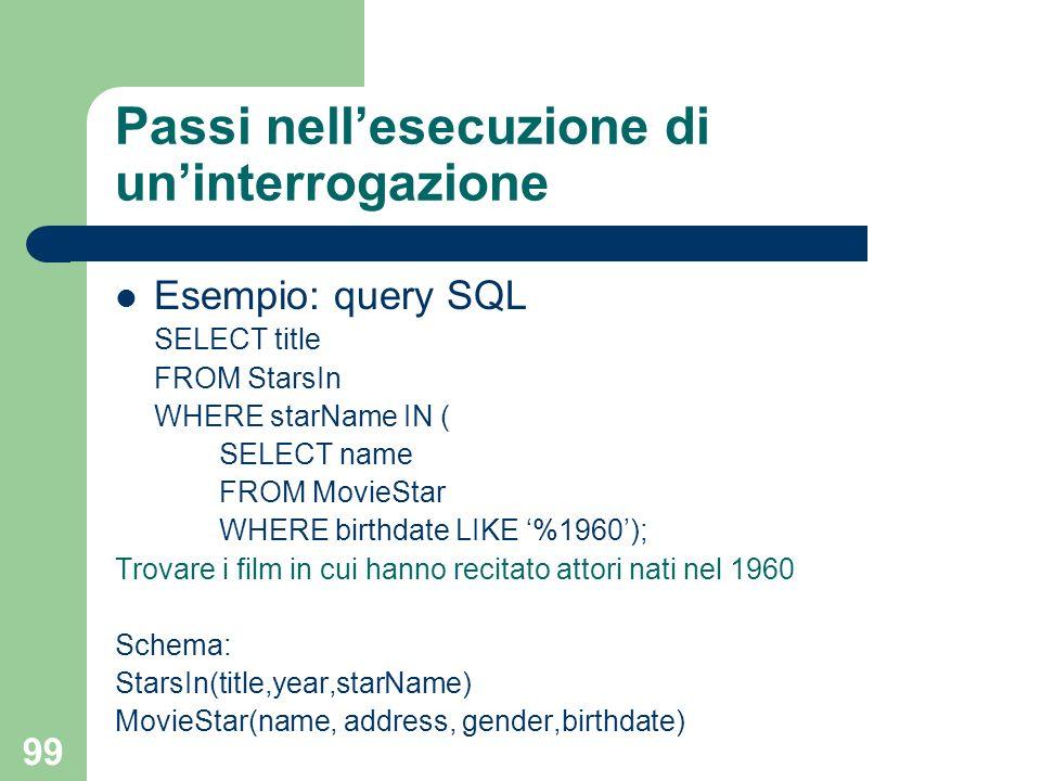 99 Passi nellesecuzione di uninterrogazione Esempio: query SQL SELECT title FROM StarsIn WHERE starName IN ( SELECT name FROM MovieStar WHERE birthdat