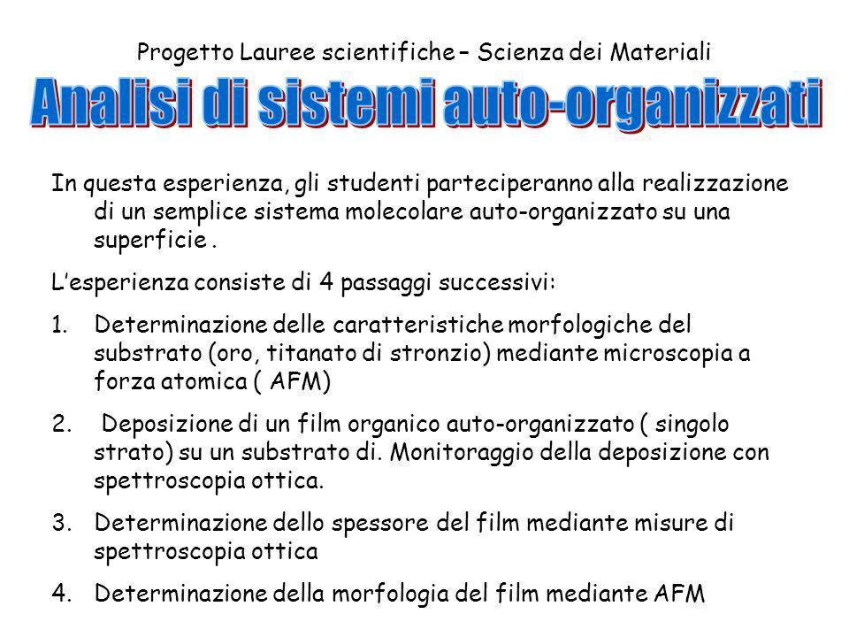 Progetto Lauree scientifiche – Scienza dei Materiali In questa esperienza, gli studenti parteciperanno alla realizzazione di un semplice sistema molecolare auto-organizzato su una superficie.