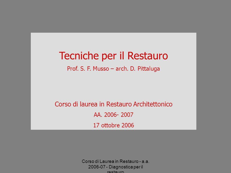 Corso di Laurea in Restauro - a.a. 2006-07 - Diagnostica per il restauro Tecniche per il Restauro Prof. S. F. Musso – arch. D. Pittaluga Corso di laur