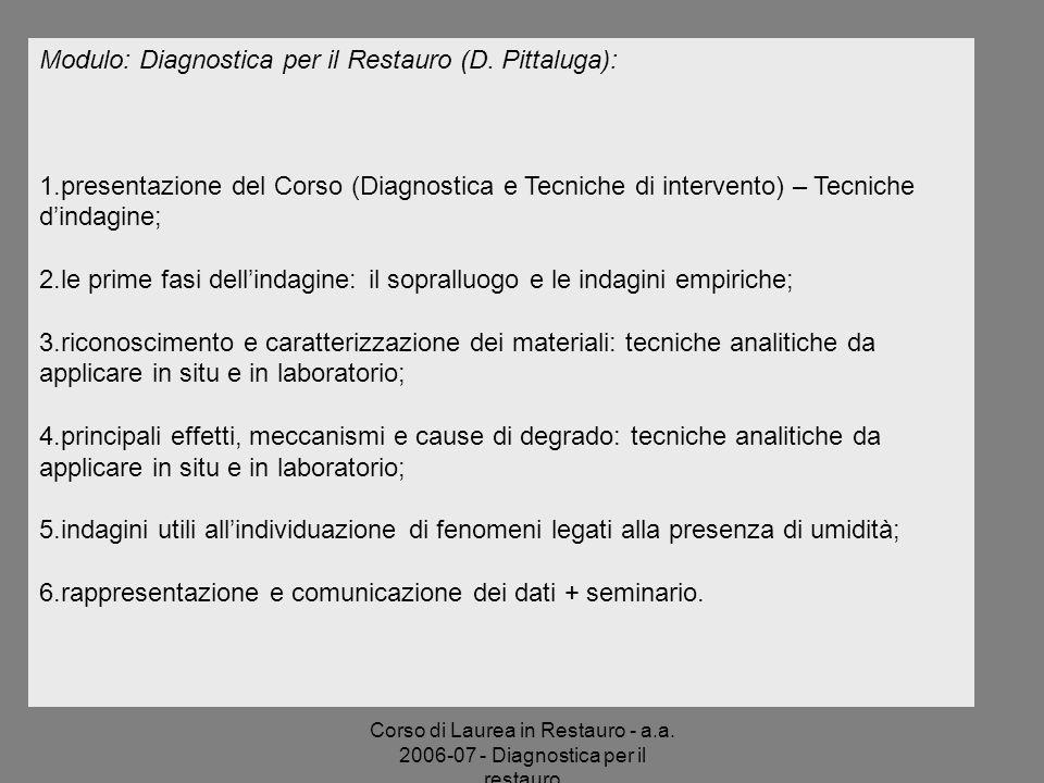 Corso di Laurea in Restauro - a.a. 2006-07 - Diagnostica per il restauro Modulo: Diagnostica per il Restauro (D. Pittaluga): 1.presentazione del Corso
