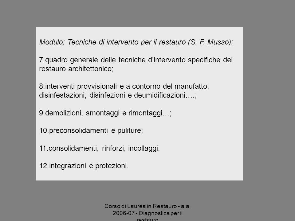 Corso di Laurea in Restauro - a.a. 2006-07 - Diagnostica per il restauro Modulo: Tecniche di intervento per il restauro (S. F. Musso): 7.quadro genera