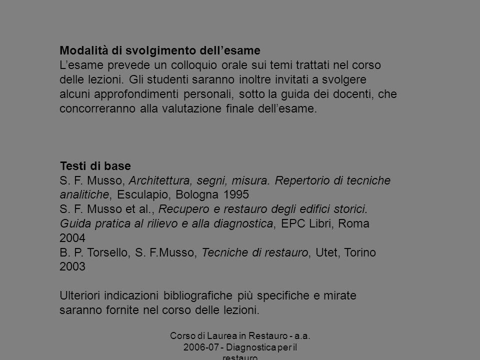 Corso di Laurea in Restauro - a.a. 2006-07 - Diagnostica per il restauro Modalità di svolgimento dellesame Lesame prevede un colloquio orale sui temi