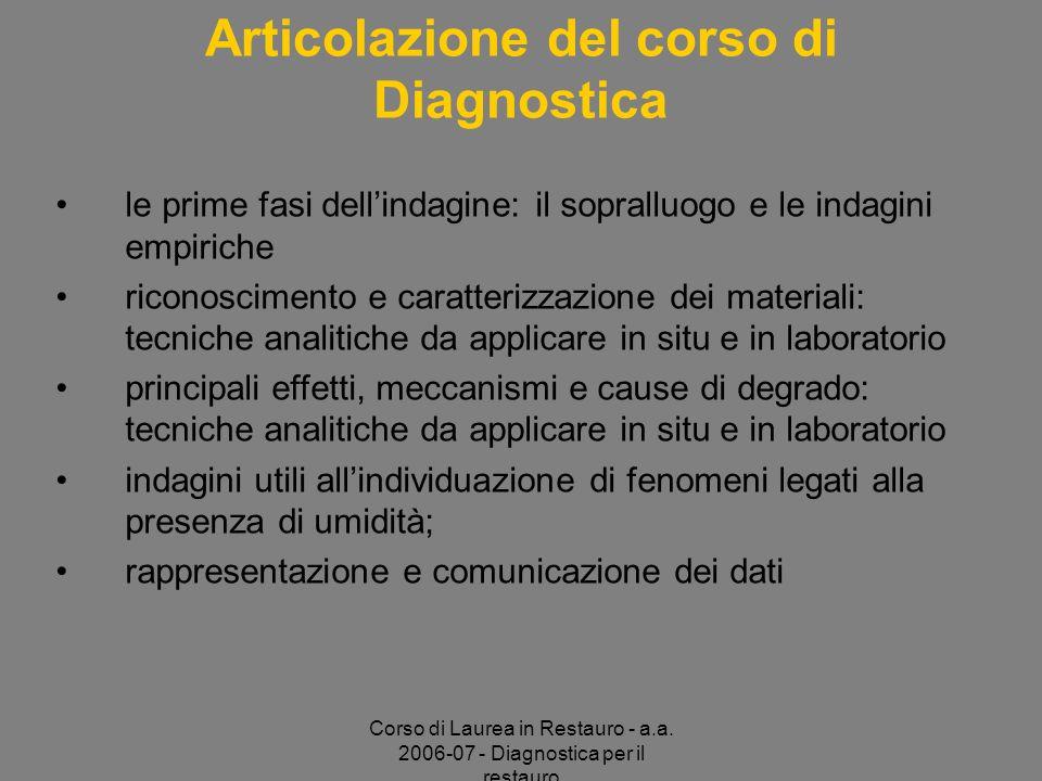 Corso di Laurea in Restauro - a.a. 2006-07 - Diagnostica per il restauro Articolazione del corso di Diagnostica le prime fasi dellindagine: il soprall