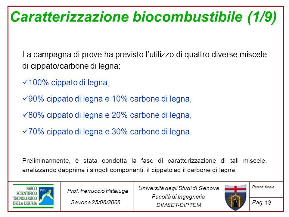 Caratterizzazione biocombustibile (1/9) La campagna di prove ha previsto lutilizzo di quattro diverse miscele di cippato/carbone di legna: 100% cippat