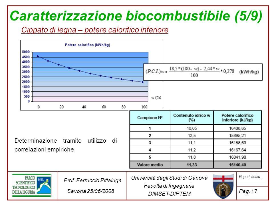 Caratterizzazione biocombustibile (5/9) Cippato di legna – potere calorifico inferiore Determinazione tramite utilizzo di correlazioni empiriche 17 Un