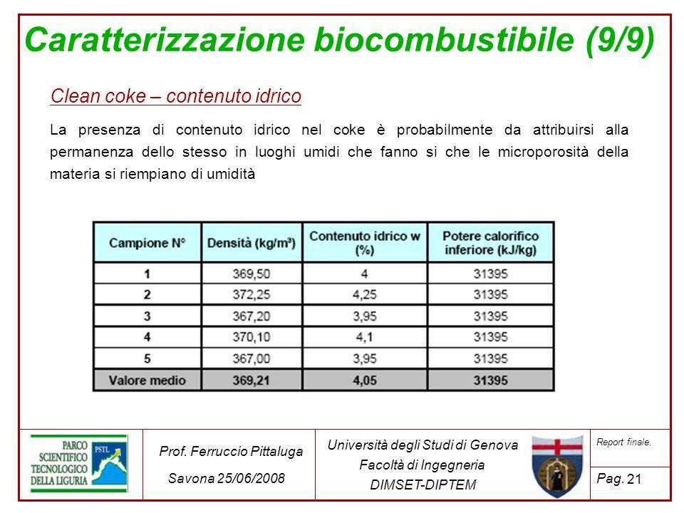 Caratterizzazione biocombustibile (9/9) Clean coke – contenuto idrico La presenza di contenuto idrico nel coke è probabilmente da attribuirsi alla per