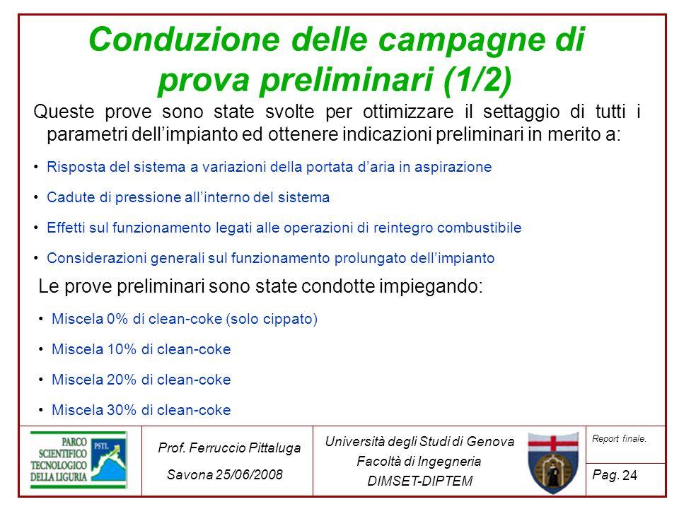 24 Università degli Studi di Genova Facoltà di Ingegneria DIMSET-DIPTEM Prof. Ferruccio Pittaluga Savona 25/06/2008 Report finale. Pag. Queste prove s