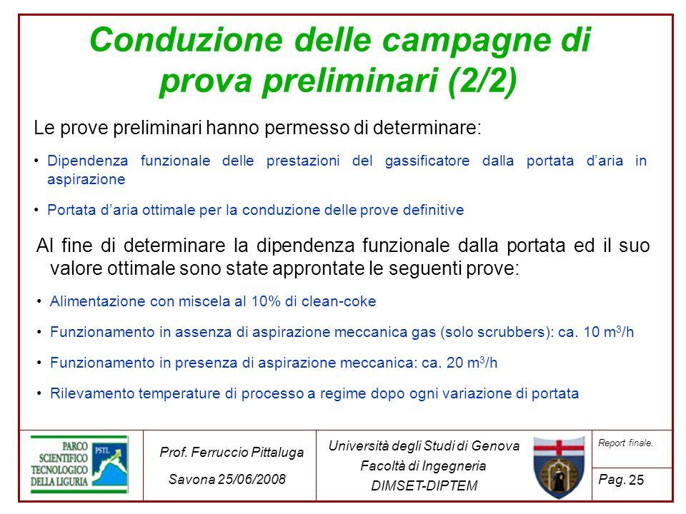 25 Università degli Studi di Genova Facoltà di Ingegneria DIMSET-DIPTEM Prof. Ferruccio Pittaluga Savona 25/06/2008 Report finale. Pag. Le prove preli