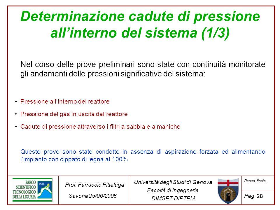 28 Università degli Studi di Genova Facoltà di Ingegneria DIMSET-DIPTEM Prof. Ferruccio Pittaluga Savona 25/06/2008 Report finale. Pag. Determinazione