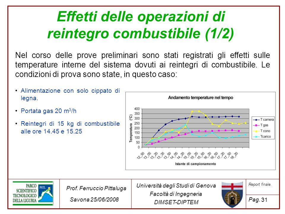 31 Università degli Studi di Genova Facoltà di Ingegneria DIMSET-DIPTEM Prof. Ferruccio Pittaluga Savona 25/06/2008 Report finale. Pag. Effetti delle