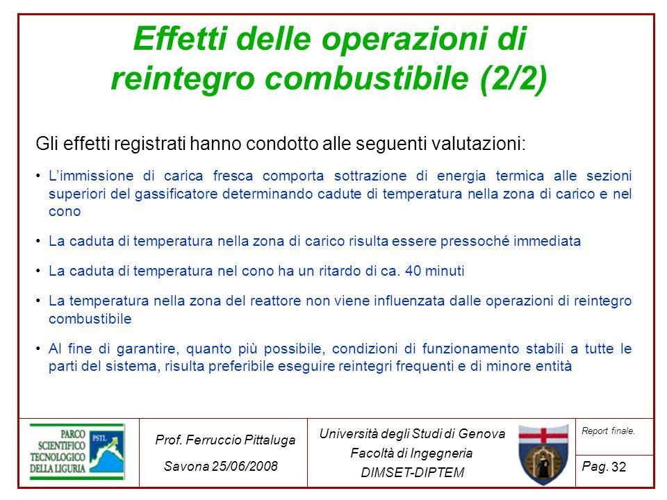 32 Università degli Studi di Genova Facoltà di Ingegneria DIMSET-DIPTEM Prof. Ferruccio Pittaluga Savona 25/06/2008 Report finale. Pag. Gli effetti re