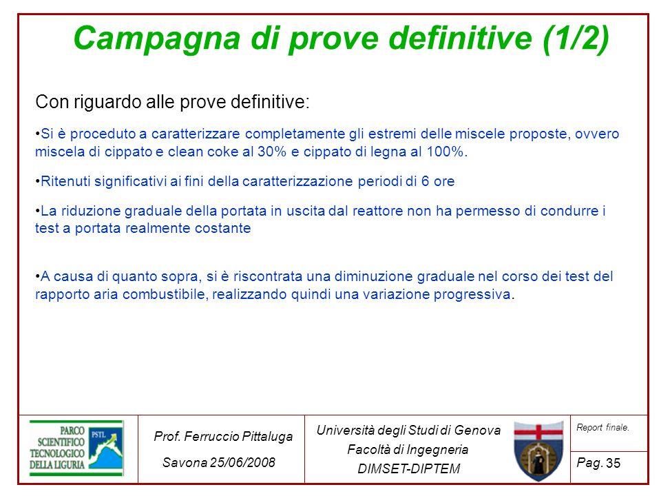 35 Università degli Studi di Genova Facoltà di Ingegneria DIMSET-DIPTEM Prof. Ferruccio Pittaluga Savona 25/06/2008 Report finale. Pag. Campagna di pr