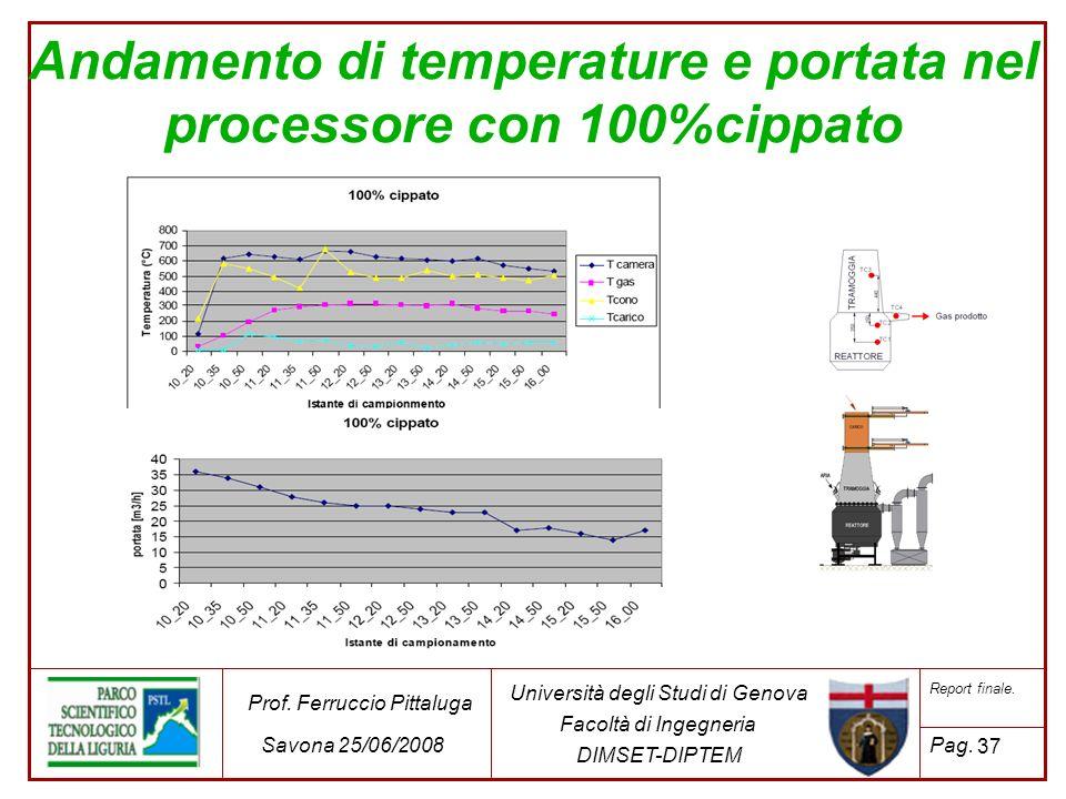 37 Università degli Studi di Genova Facoltà di Ingegneria DIMSET-DIPTEM Prof. Ferruccio Pittaluga Savona 25/06/2008 Report finale. Pag. Andamento di t