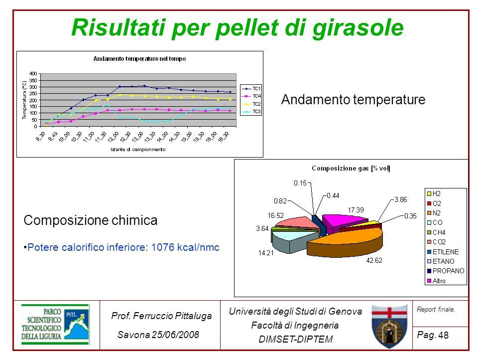 48 Università degli Studi di Genova Facoltà di Ingegneria DIMSET-DIPTEM Prof. Ferruccio Pittaluga Savona 25/06/2008 Report finale. Pag. Risultati per