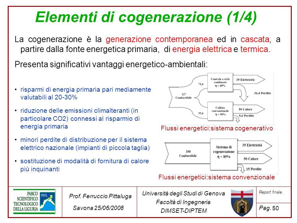 50 Università degli Studi di Genova Facoltà di Ingegneria DIMSET-DIPTEM Prof. Ferruccio Pittaluga Savona 25/06/2008 Report finale. Pag. La cogenerazio