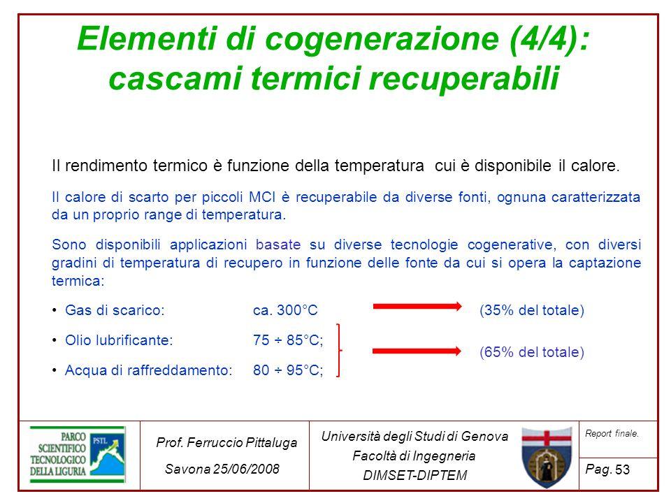 53 Università degli Studi di Genova Facoltà di Ingegneria DIMSET-DIPTEM Prof. Ferruccio Pittaluga Savona 25/06/2008 Report finale. Pag. Elementi di co