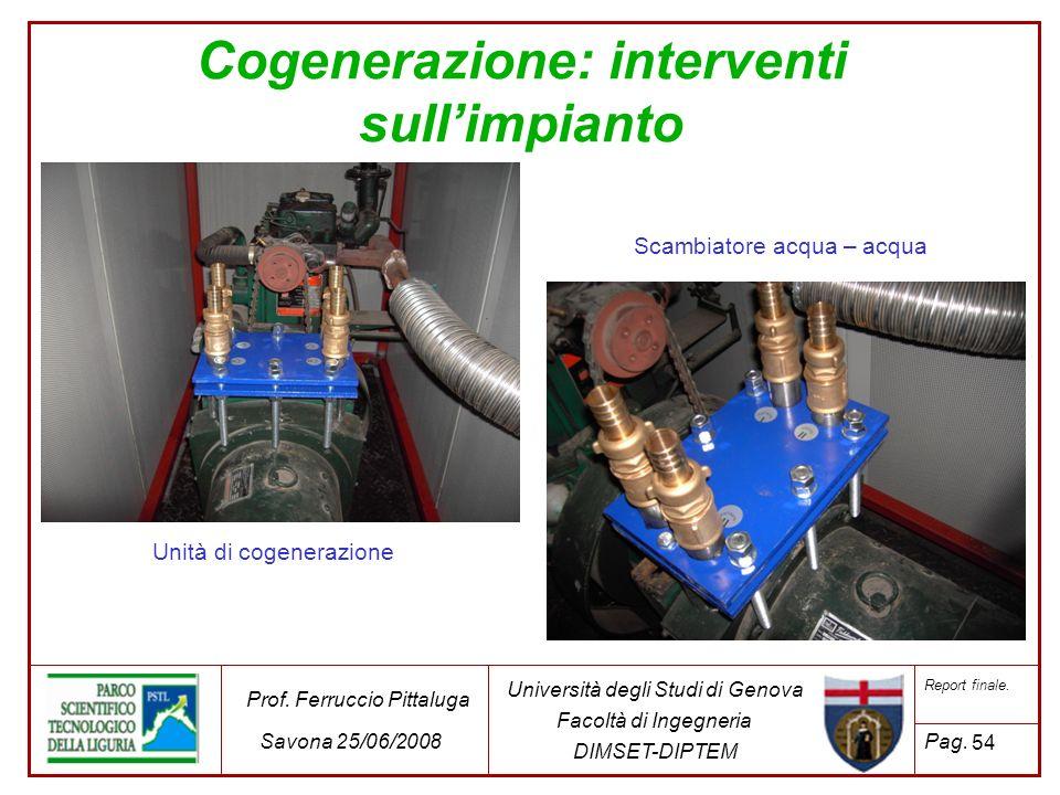 54 Università degli Studi di Genova Facoltà di Ingegneria DIMSET-DIPTEM Prof. Ferruccio Pittaluga Savona 25/06/2008 Report finale. Pag. Cogenerazione: