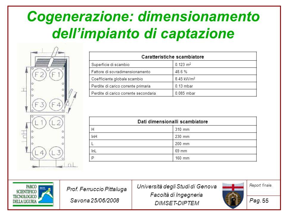 55 Università degli Studi di Genova Facoltà di Ingegneria DIMSET-DIPTEM Prof. Ferruccio Pittaluga Savona 25/06/2008 Report finale. Pag. Cogenerazione: