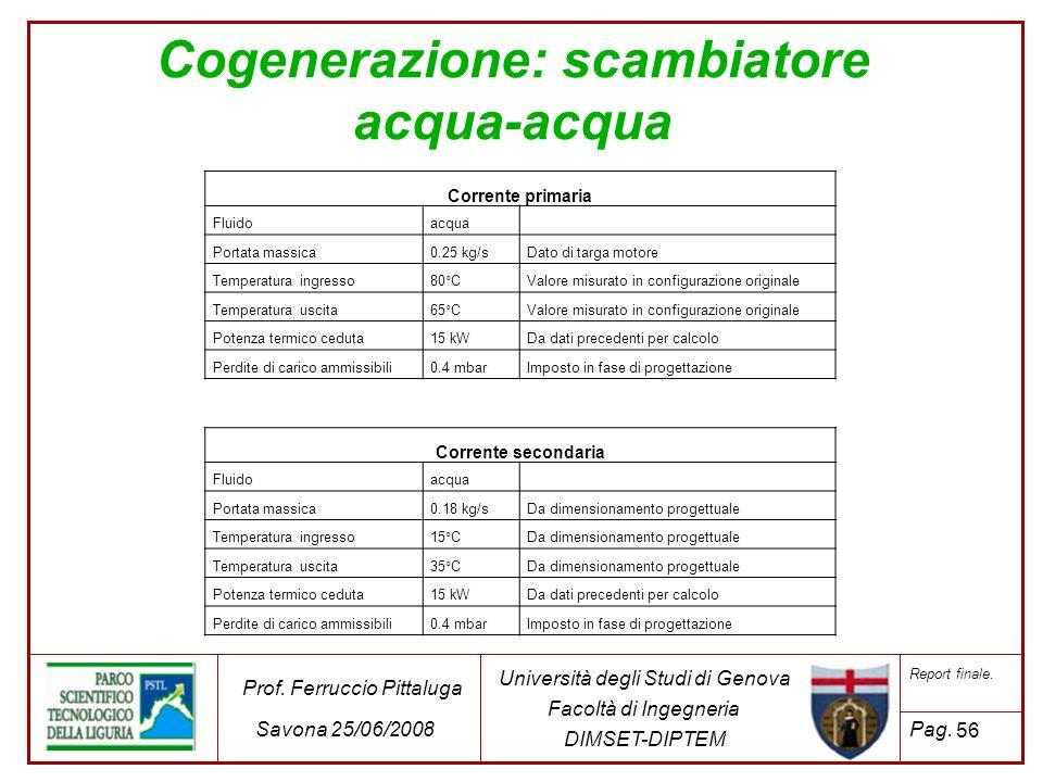 56 Università degli Studi di Genova Facoltà di Ingegneria DIMSET-DIPTEM Prof. Ferruccio Pittaluga Savona 25/06/2008 Report finale. Pag. Cogenerazione: