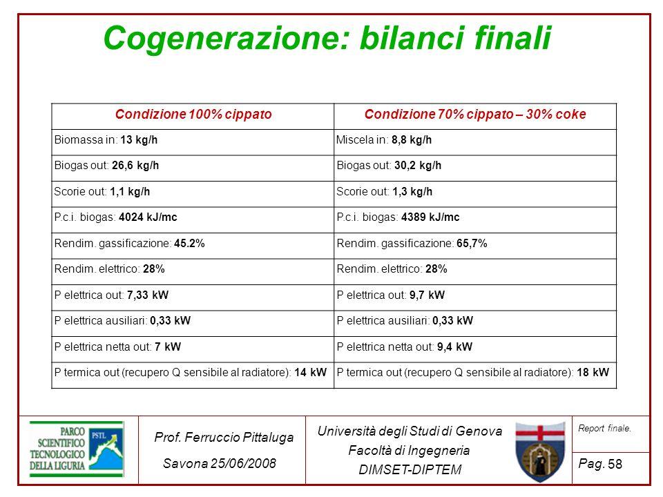 58 Università degli Studi di Genova Facoltà di Ingegneria DIMSET-DIPTEM Prof. Ferruccio Pittaluga Savona 25/06/2008 Report finale. Pag. Cogenerazione: