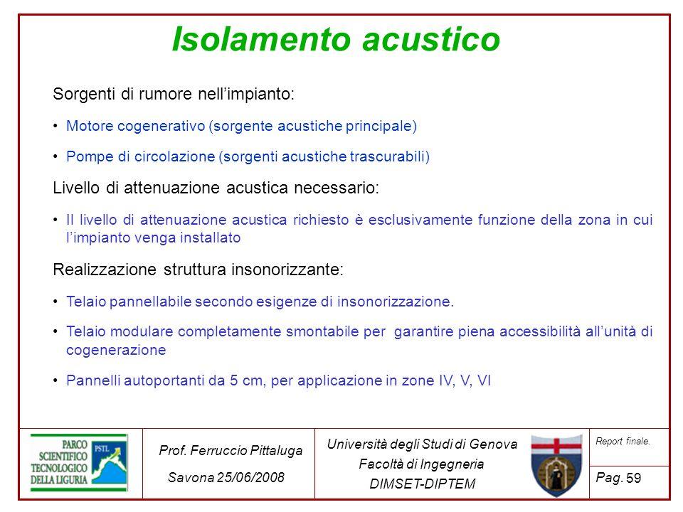 59 Università degli Studi di Genova Facoltà di Ingegneria DIMSET-DIPTEM Prof. Ferruccio Pittaluga Savona 25/06/2008 Report finale. Pag. Isolamento acu