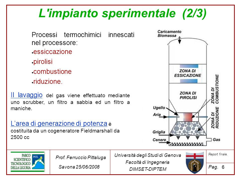 L impianto sperimentale (3/3) 7 Università degli Studi di Genova Facoltà di Ingegneria DIMSET-DIPTEM Prof.