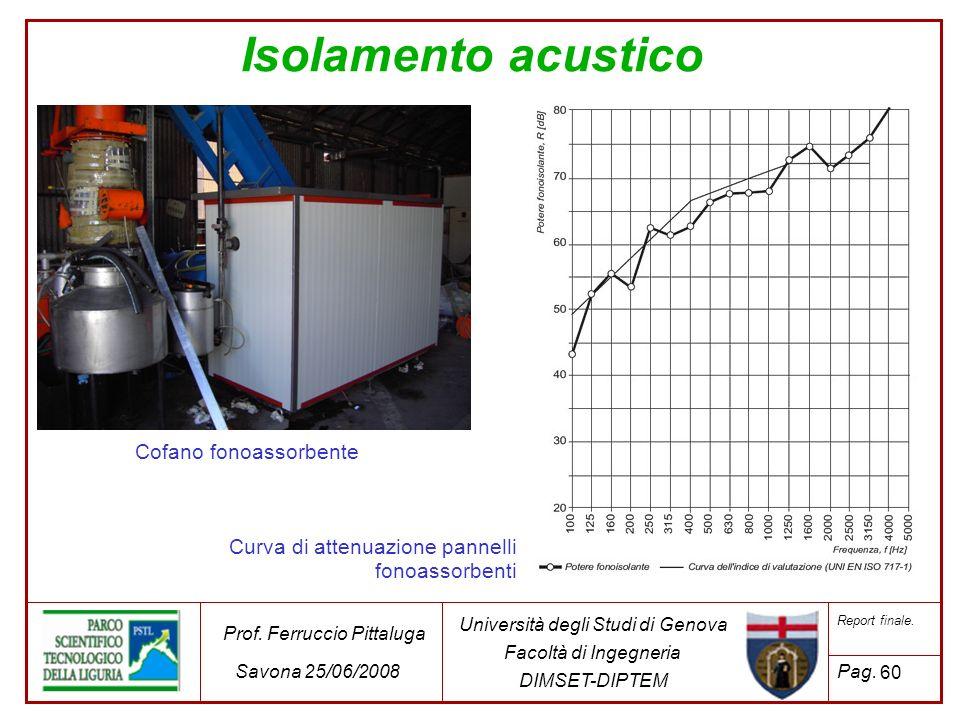 60 Università degli Studi di Genova Facoltà di Ingegneria DIMSET-DIPTEM Prof. Ferruccio Pittaluga Savona 25/06/2008 Report finale. Pag. Isolamento acu