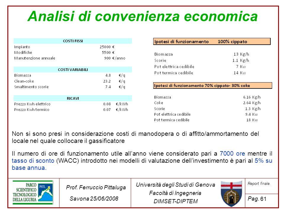 61 Università degli Studi di Genova Facoltà di Ingegneria DIMSET-DIPTEM Prof. Ferruccio Pittaluga Savona 25/06/2008 Report finale. Pag. Analisi di con