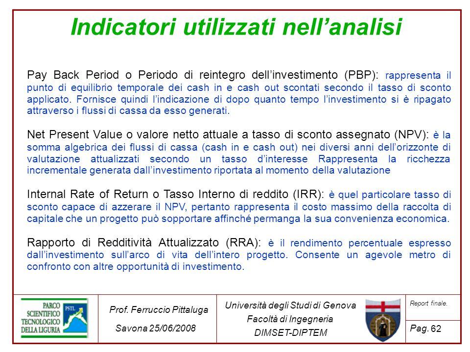 62 Università degli Studi di Genova Facoltà di Ingegneria DIMSET-DIPTEM Prof. Ferruccio Pittaluga Savona 25/06/2008 Report finale. Pag. Indicatori uti