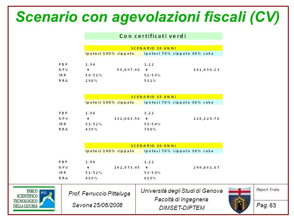 63 Università degli Studi di Genova Facoltà di Ingegneria DIMSET-DIPTEM Prof. Ferruccio Pittaluga Savona 25/06/2008 Report finale. Pag. Scenario con a