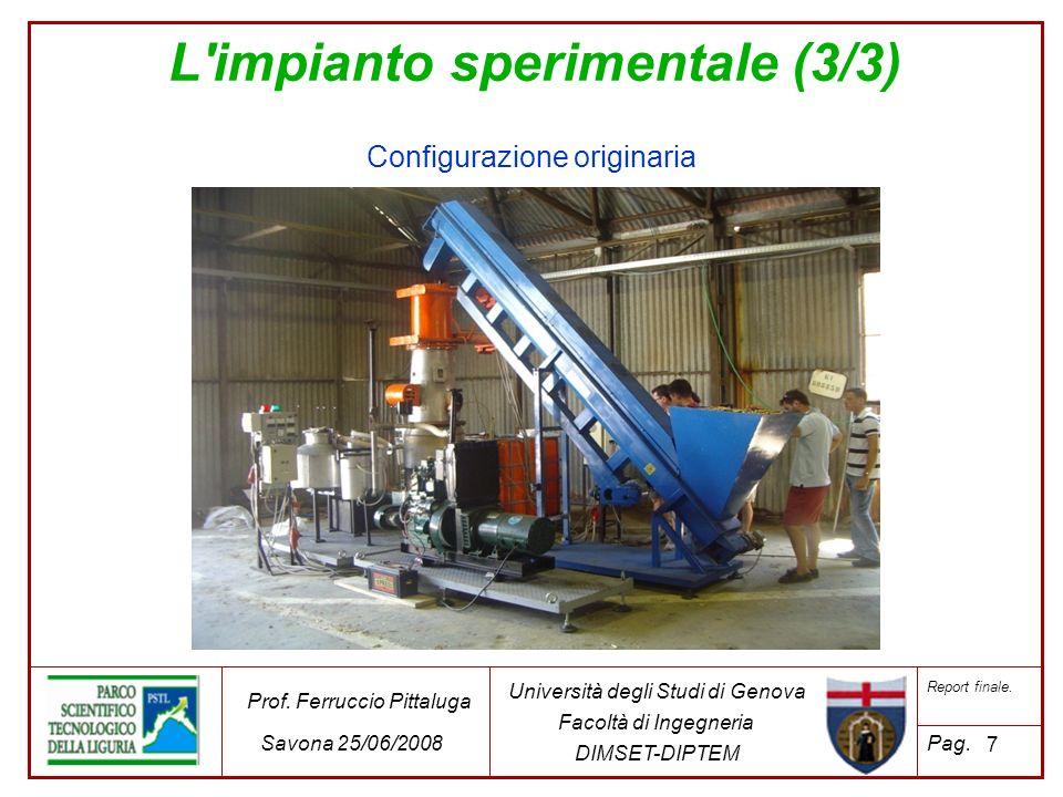 L'impianto sperimentale (3/3) 7 Università degli Studi di Genova Facoltà di Ingegneria DIMSET-DIPTEM Prof. Ferruccio Pittaluga Savona 25/06/2008 Repor