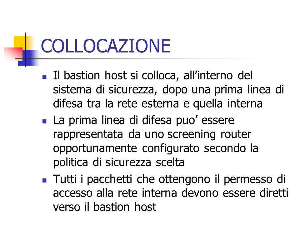 COLLOCAZIONE Il bastion host si colloca, allinterno del sistema di sicurezza, dopo una prima linea di difesa tra la rete esterna e quella interna La p