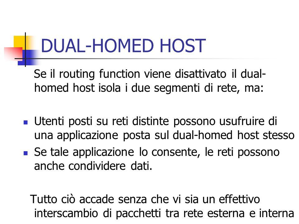 Se il routing function viene disattivato il dual- homed host isola i due segmenti di rete, ma: Utenti posti su reti distinte possono usufruire di una