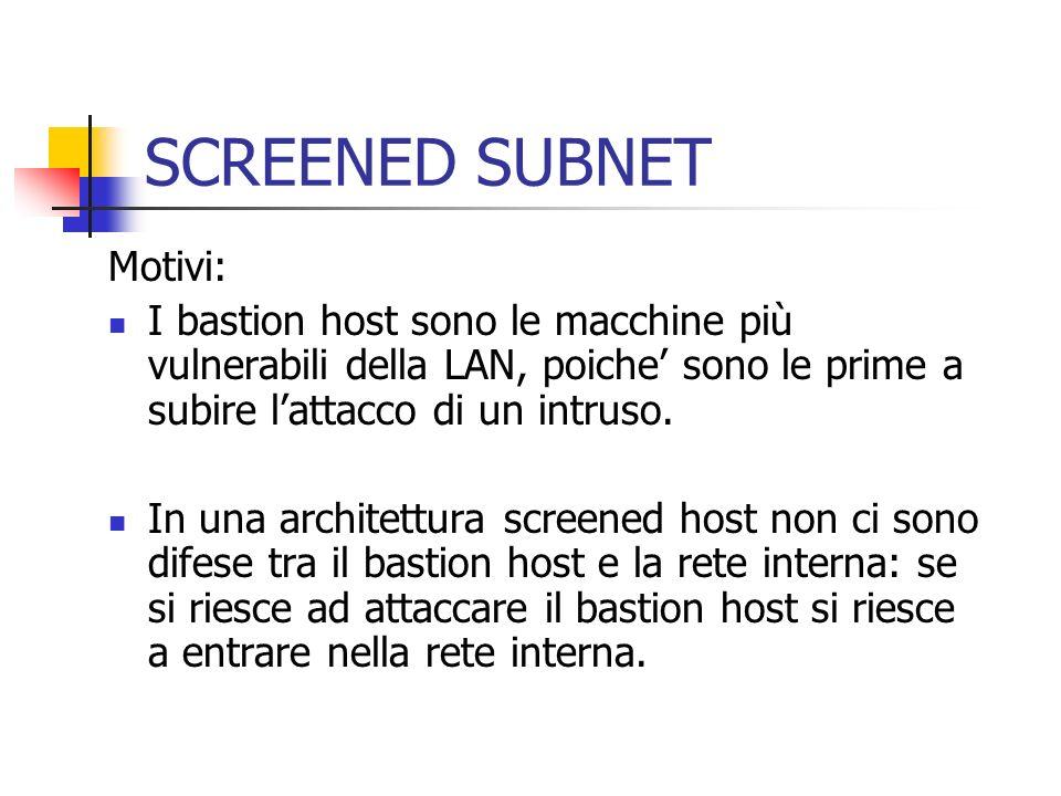 SCREENED SUBNET Motivi: I bastion host sono le macchine più vulnerabili della LAN, poiche sono le prime a subire lattacco di un intruso. In una archit
