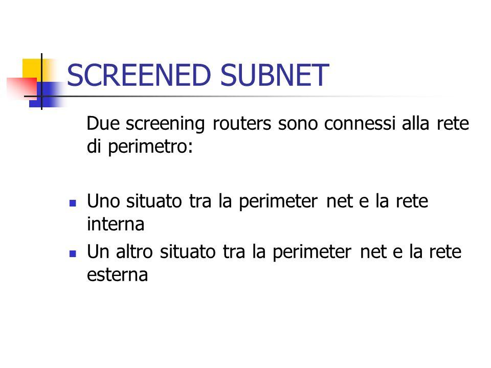 Due screening routers sono connessi alla rete di perimetro: Uno situato tra la perimeter net e la rete interna Un altro situato tra la perimeter net e
