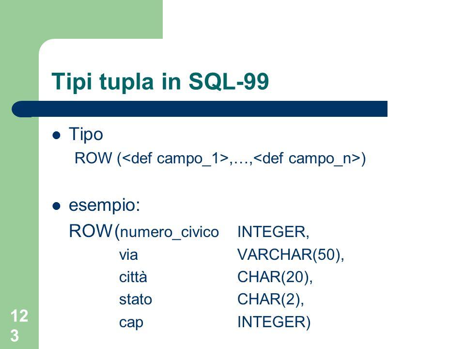 122 Tipi tupla in SQL-99 SQL-99 mette a disposizione un nuovo dominio per la rappresentazione di tipi record chiamati row type non richiedono la definizione di un ADT ma possono essere direttamente associati al tipo
