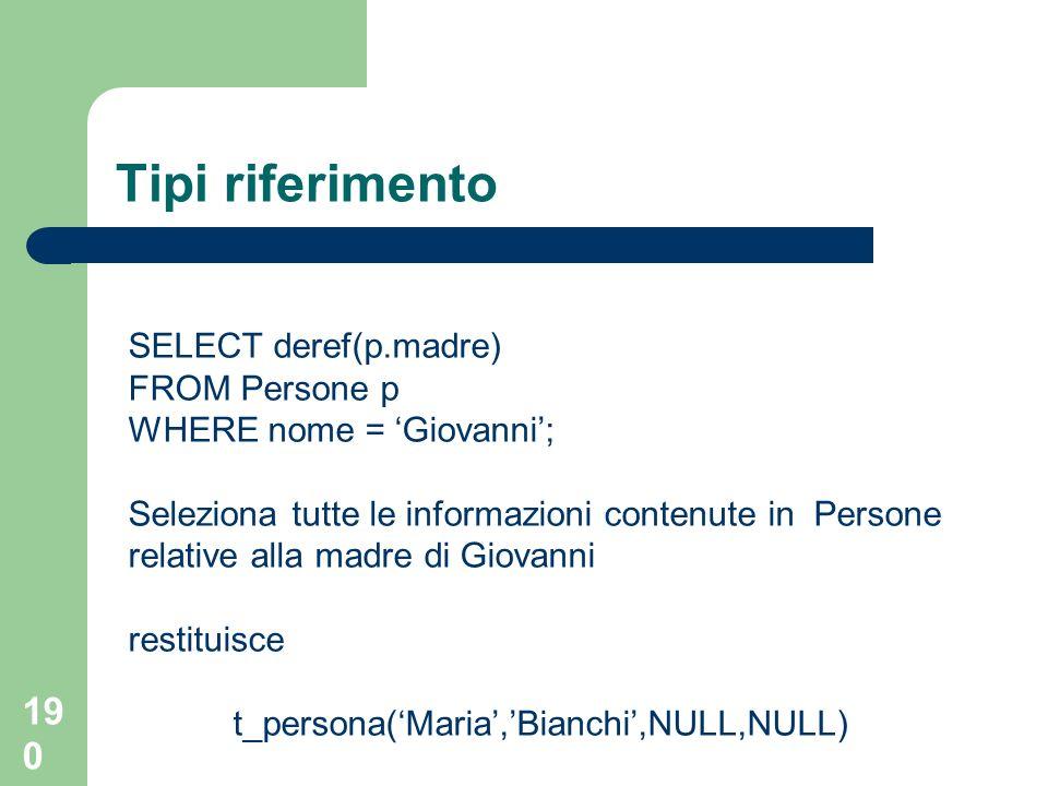 189 Tipi riferimento SELECT value(p) FROM Persone p si ottiene: t_persona(Mario,Rossi,NULL,NULL) t_persona(Maria,Bianchi,NULL,NULL) t_persona(Giovanni,Rossi,xxxyyywww,NULL) dove xxxyyywww è lidentificatore della tupla di Maria Bianchi