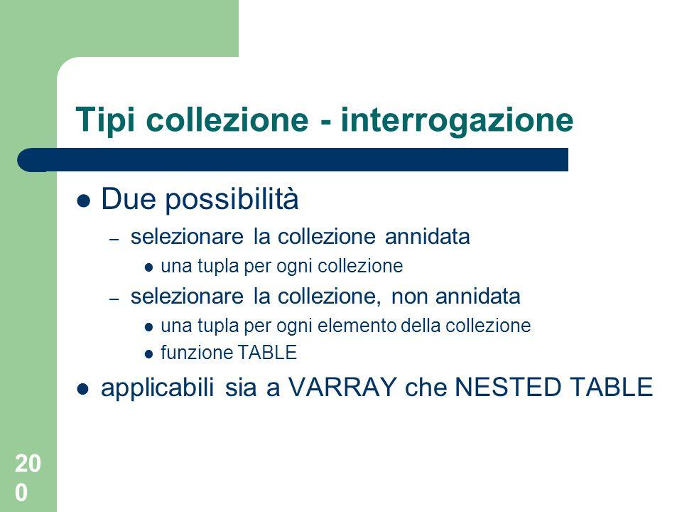 199 Nested table: inserimento INSERT INTO Dipartimenti VALUES(Informatica,Italiani, Lista_Corsi(Corso(1000,Programmazione I,2), Corso(1001,Logica Matematica,1), Corso(1002,Basi di Dati,2), Corso(1003,Grafica,1)));