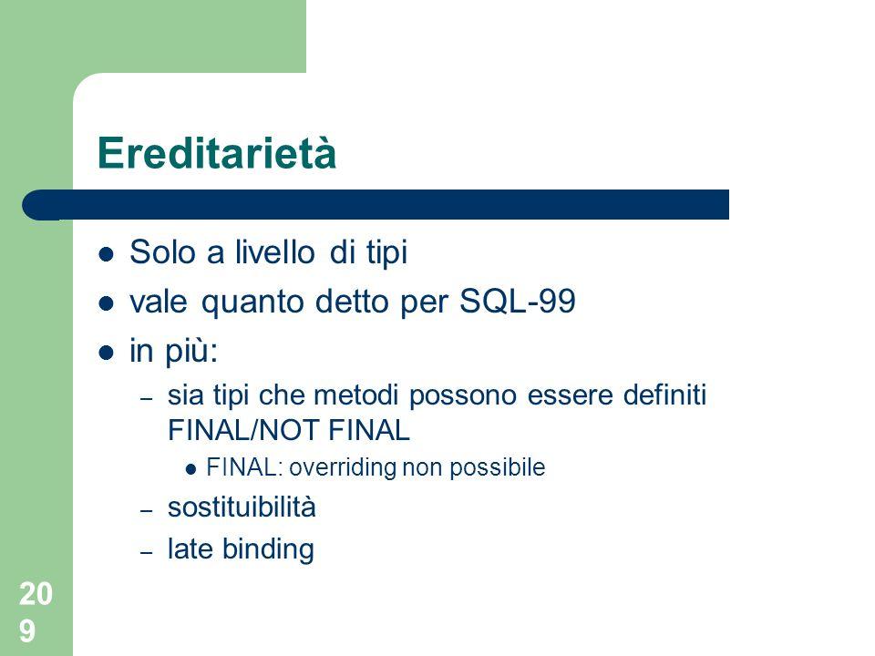 208 Varray DECLARE miei_progetti lista_progetti; SELECT progetti INTO miei_progetti.