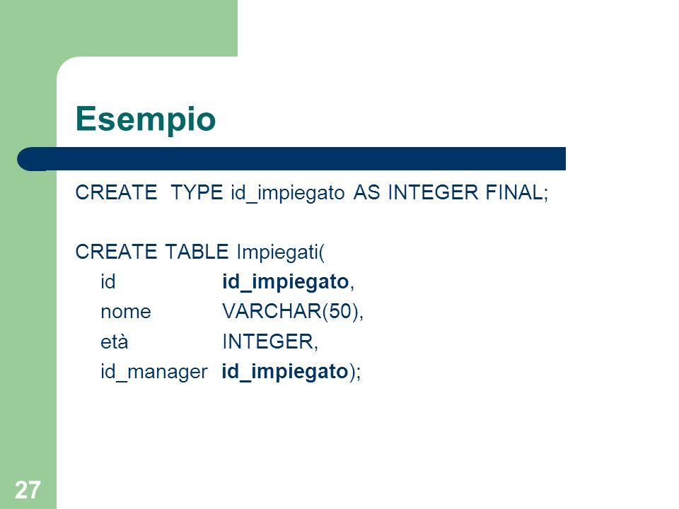 26 Tipi semplici in SQL-99 SQL-99 consente di definire tipi semplici basati solo su tipi built-in CREATE TYPE AS FINAL Vedremo in seguito il significato della clausola FINAL