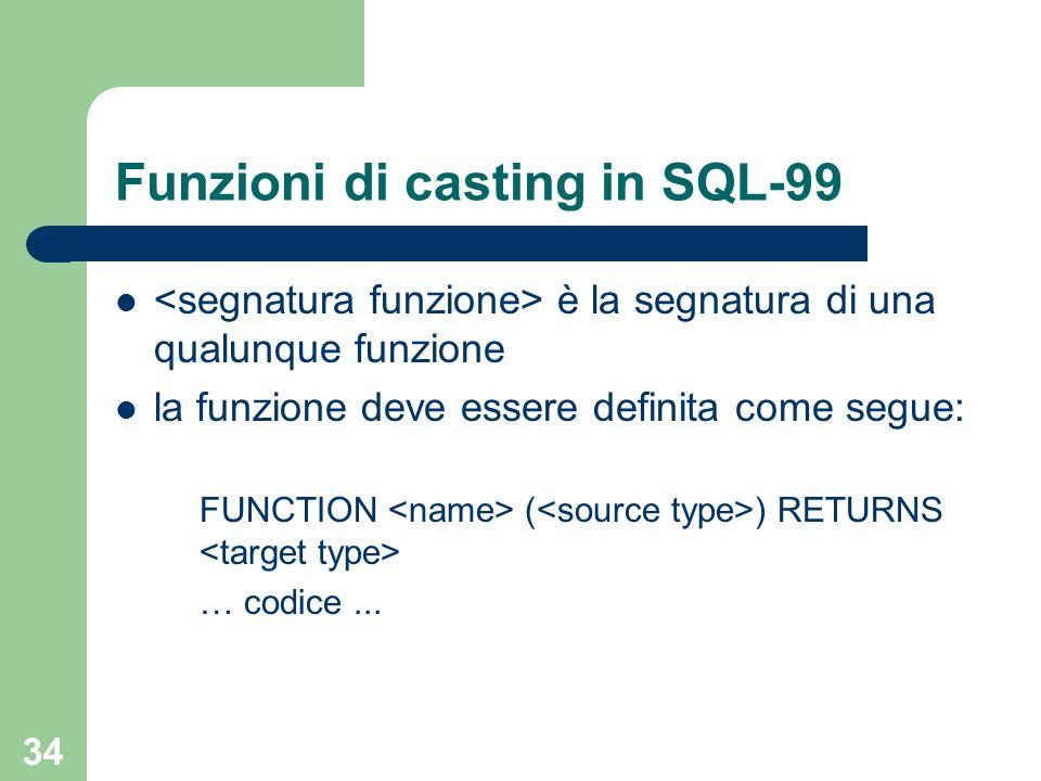 33 Funzioni di casting in SQL-99 CREATE CAST ( AS ) WITH [AS ASSIGNMENT] : tipo input : tipo output almeno uno tra e deve essere un tipo definito dallutente laltro può essere un tipo qualunque