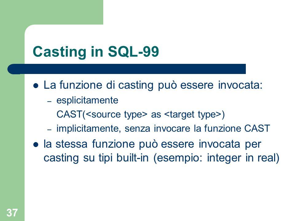 36 Funzioni di casting in SQL-99 Le funzioni di casting per i tipi semplici vengano create automaticamento dal sistema con la clausola AS ASSIGNMENT